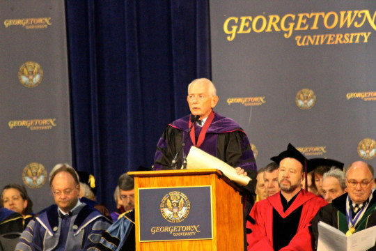 Secretary of the University Edward M. Quinn reads Georgetown's charter